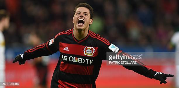 Leverkusen's Mexican striker Javier Hernandez celebrates after scoring during the German first division Bundesliga football match Bayer 04 Leverkusen...