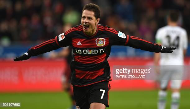 Leverkusen's Mexican striker Javier Hernandez celebrates after scoring during the German first division Bundesliga football match Bayer 04 Leverkusen...
