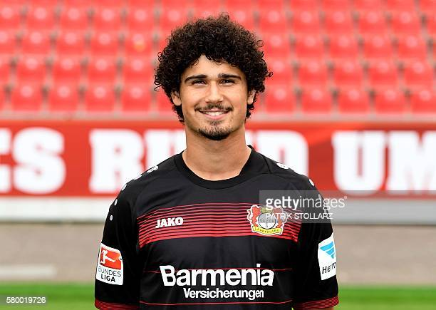Leverkusen's midfielder Andre Ramalho poses during a team presentation of Bayer Leverkusen on July 25 2016 in Leverkusen western Germany / AFP /...