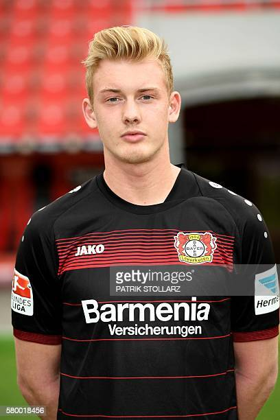 Leverkusen's midfielder Julian Brandt poses during a team presentation of Bayer Leverkusen on July 25 2016 in Leverkusen western Germany / AFP /...