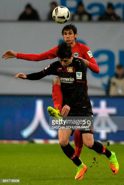Leverkusen's midfielder Kai Havertz and Frankfurt's Spanish defender Jesus Vallejo vie for the ball during the German First division Bundesliga...