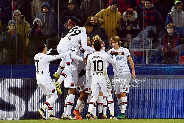 Leverkusen's players celebrate a goal during the UEFA Champions League football match between PFC CSKA Moscow and Bayer 04 Leverkusen at the CSKA...
