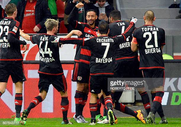 Leverkusen's players celebrate their 10 during the German first division Bundesliga football match of Bayer 04 Leverkusen vs Hannover 96 in...
