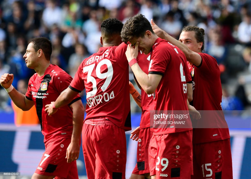 Leverkusen's players react after a goal during the German first division football match between Hertha Berlin and Bayer 04 Leverkusen in Berlin, on May 20, 2017. /