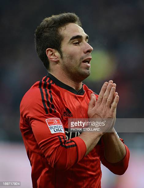 Leverkusen's Spanish defender Daniel Carvajal reacts during the German first division Bundesliga football match Bayer Leverkusen vs Eintracht...