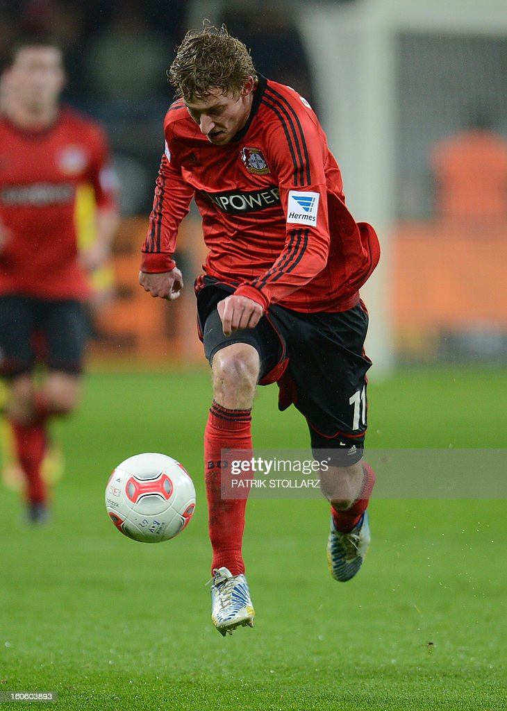 Leverkusen's striker Stefan Kiessling runs with the ball during the German first division Bundesliga football match Bayer Leverkusen vs Borussia Dortmund in the western German city of Leverkusen on February 3, 2013. Dortmund won the match 2-3.