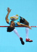 Levern Spencer of Saint Lucia competes in the Women's High Jump qualification during day one of the IAAF World Indoor Championships at Ergo Arena on...