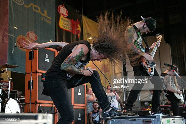 Levi Benton of Miss May I performs live onstage during the 2012 Vans Warped Tour at the Riverbend Music Center on July 31 2012 in Cincinnati Ohio