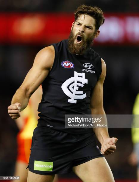 Levi Casboult of the Blues celebrates a goal during the 2017 AFL round 04 match between the Carlton Blues and the Gold Coast Suns at Etihad Stadium...