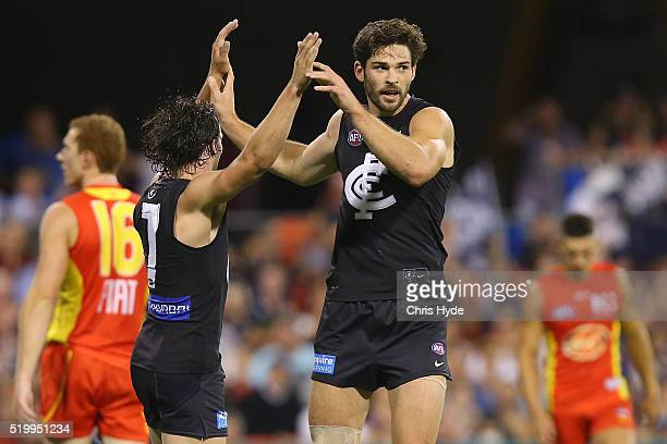 Levi Casboult of the Blues celebrates a goal during the round three AFL match between the Gold Coast Suns and the Carlton Blues at Metricon Stadium...