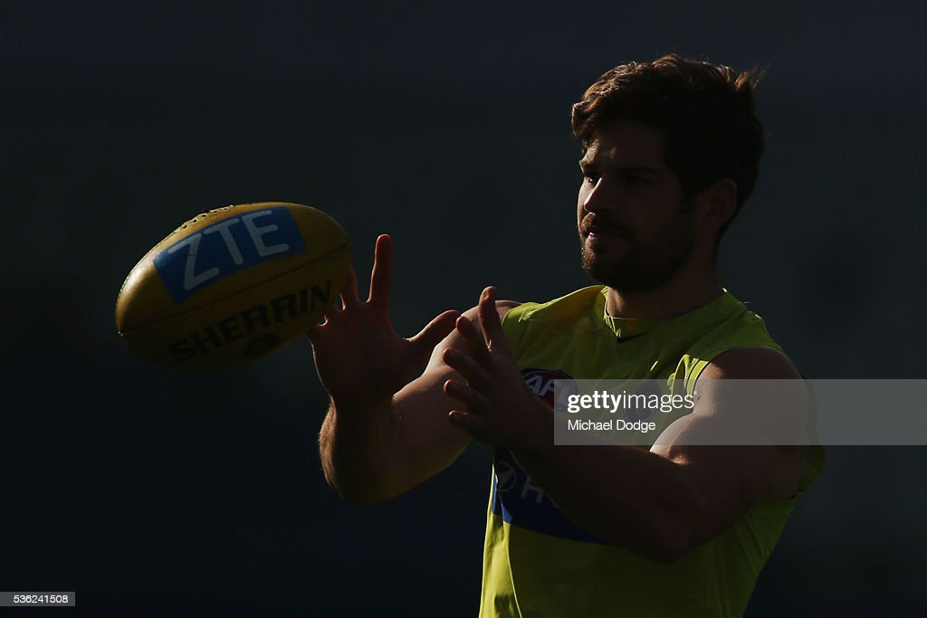 Levi Casboult of the Blues marks the ball during the Carlton Blues AFL training session at Ikon Park on June 1, 2016 in Melbourne, Australia.