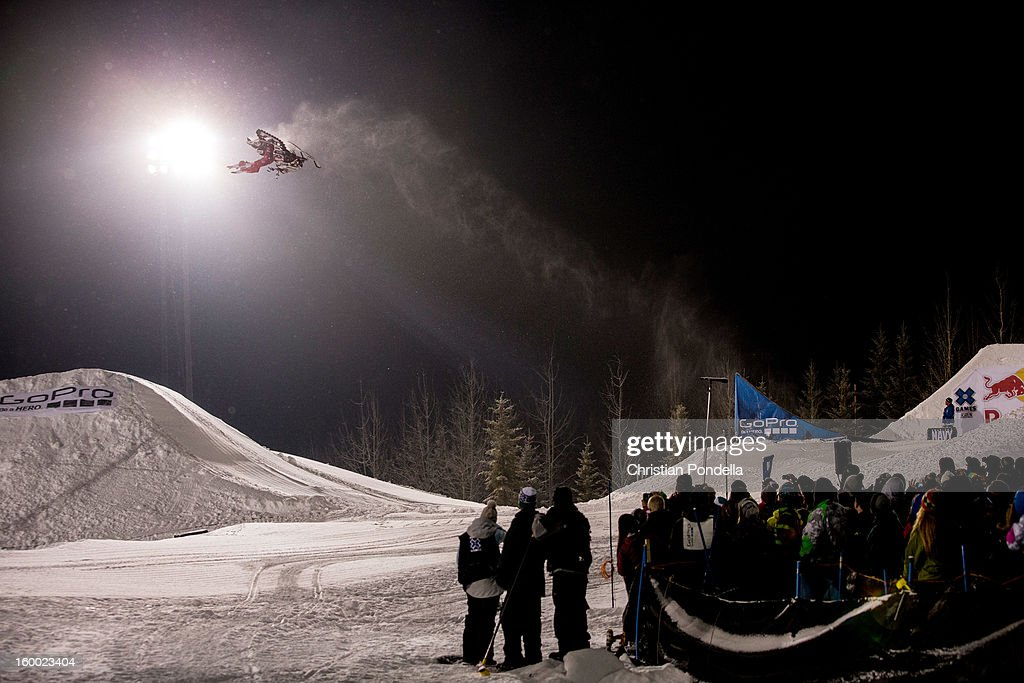 Levi LaValle of the USA rides during Snowmobile Freestyle at the X Games Aspen 2013 at Buttermilk January 24, 2013 in Aspen, Colorado.