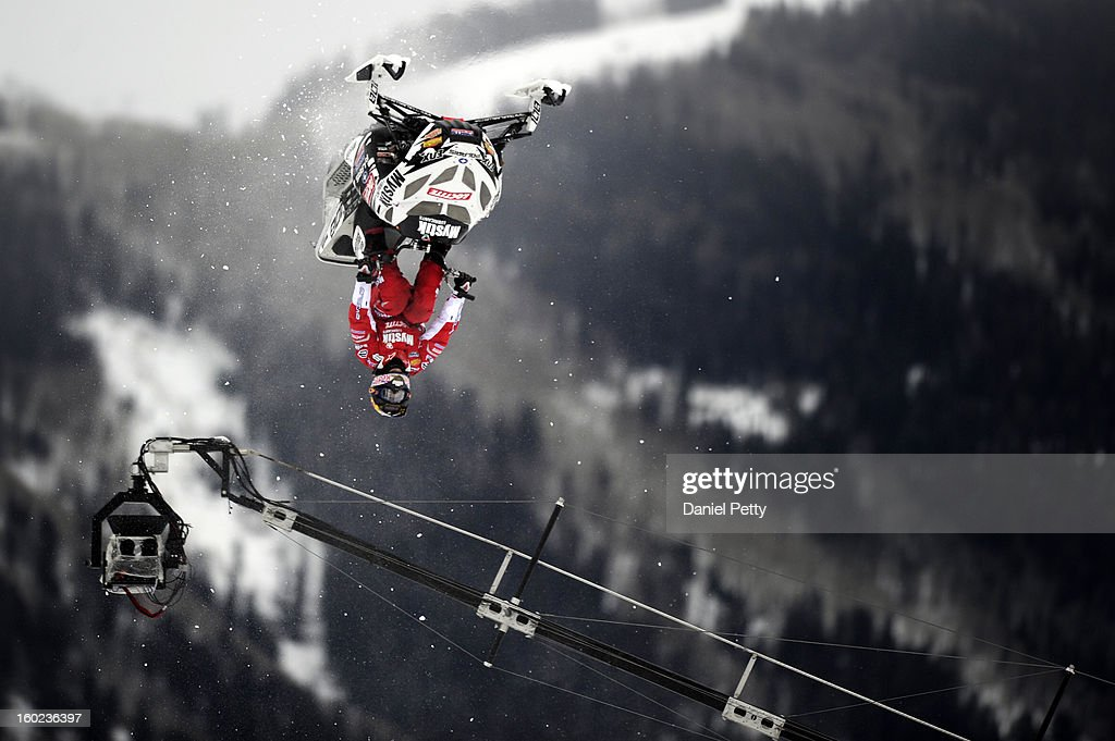 Levi LaVallee completes a flip during the Snowmobile Speed & Style event at Winter X Games Aspen 2013 at Buttermilk Mountain on Jan. 26, 2013, in Aspen, Colorado. LaVallee won the gold medal in the event.