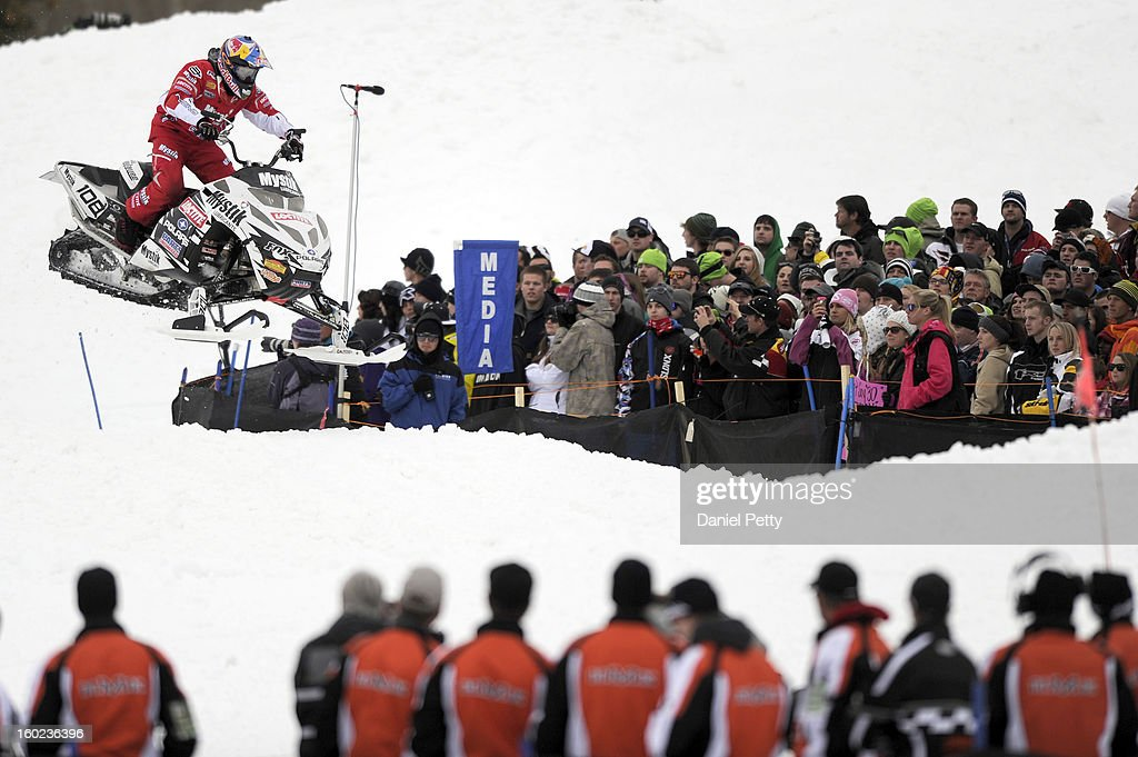 Levi LaVallee races during the Snowmobile Speed & Style event at Winter X Games Aspen 2013 at Buttermilk Mountain on Jan. 26, 2013, in Aspen, Colorado. LaVallee won the gold medal in the event.