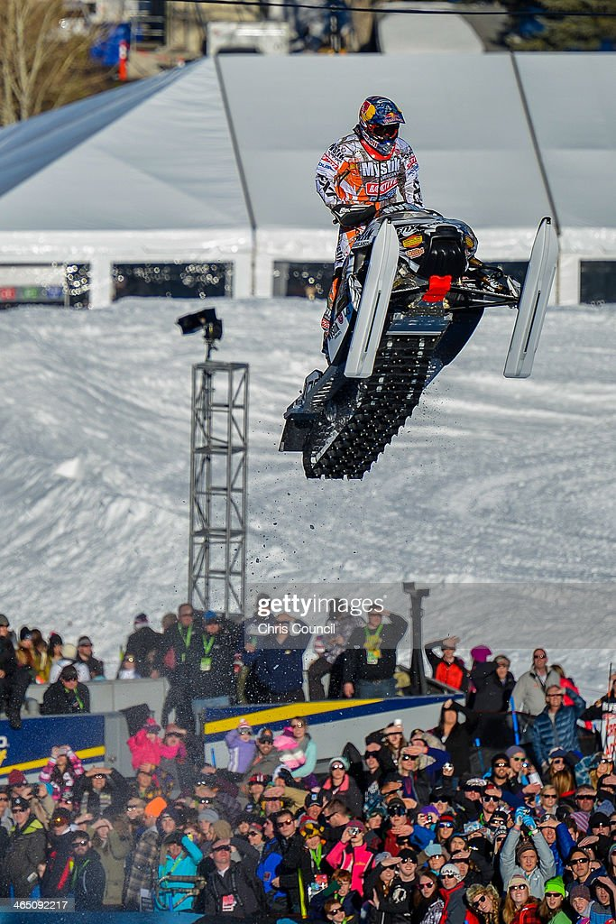 Levi LaVallee soars above the crowd during the snowmobile long jump competition in the Winter X-Games 2014 at Buttermilk Mountain on January 25, 2014 in Aspen, Colorado. LaVallee won the gold with a jump of 147 feet and five inches.