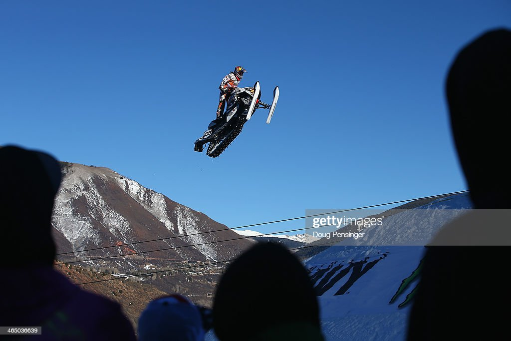 Levi LaVallee soars above the spectators as he wins the Snowmobile Long Jump at Winter X-Games 2014 Aspen at Buttermilk Mountain on January 25, 2014 in Aspen, Colorado.