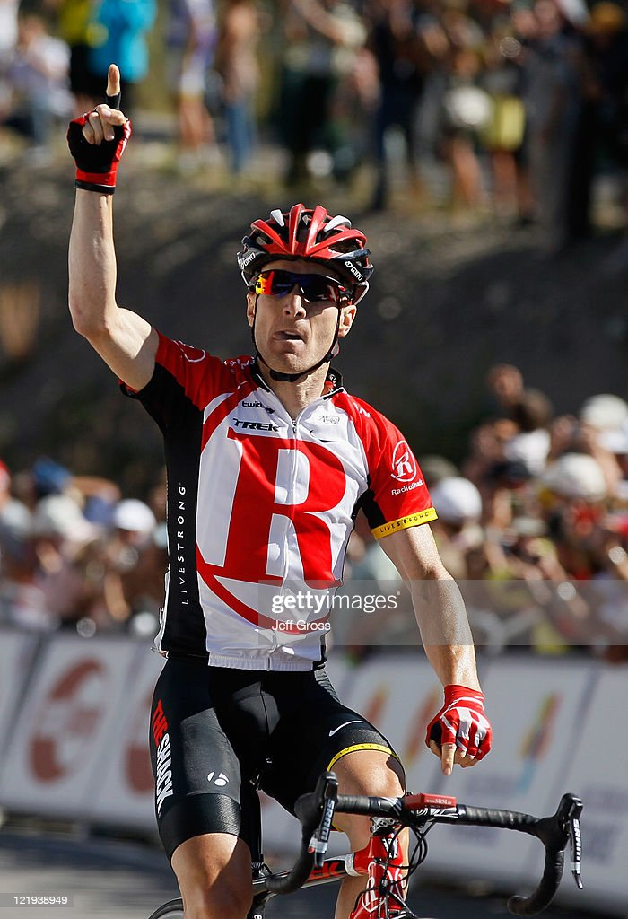 <a gi-track='captionPersonalityLinkClicked' href=/galleries/search?phrase=Levi+Leipheimer&family=editorial&specificpeople=236122 ng-click='$event.stopPropagation()'>Levi Leipheimer</a> of Team Radioshack celebrates as he wins stage one to earn the yellow jersey during the 2011 USA Pro Cycling Challenge from Salida to Crested Butte on August 23, 2011 in Crested Butte, Colorado.
