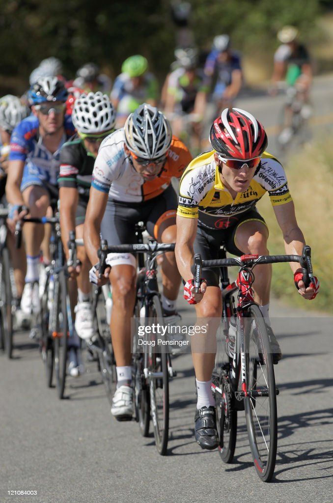 <a gi-track='captionPersonalityLinkClicked' href=/galleries/search?phrase=Levi+Leipheimer&family=editorial&specificpeople=236122 ng-click='$event.stopPropagation()'>Levi Leipheimer</a> of the USA and riding for Team Radioshack leads the main group late in the race as he defended his overall race leaders jersey during stage four of the Tour of Utah on August 13, 2011 in Salt Lake City, Utah.