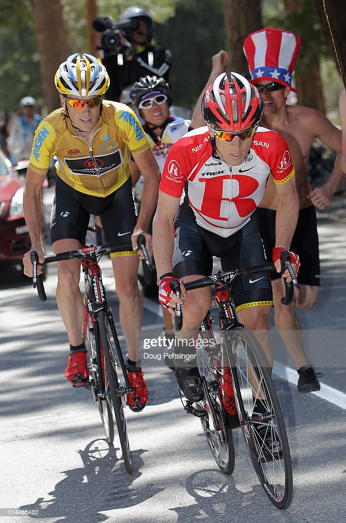 <a gi-track='captionPersonalityLinkClicked' href=/galleries/search?phrase=Levi+Leipheimer&family=editorial&specificpeople=236122 ng-click='$event.stopPropagation()'>Levi Leipheimer</a> (R) of the USA riding for Radioshack escorts his teammate Chris Horner of the USA riding for Radioshack up the climb of Mt. Baldy during stage seven of the 2011 AMGEN Tour of California from Claremont to Mt. Baldy on May 21, 2011 in Mount Baldy, California. Leipheimer went on to win the stage while Horner finished second and defended the overall race leaders jersey.