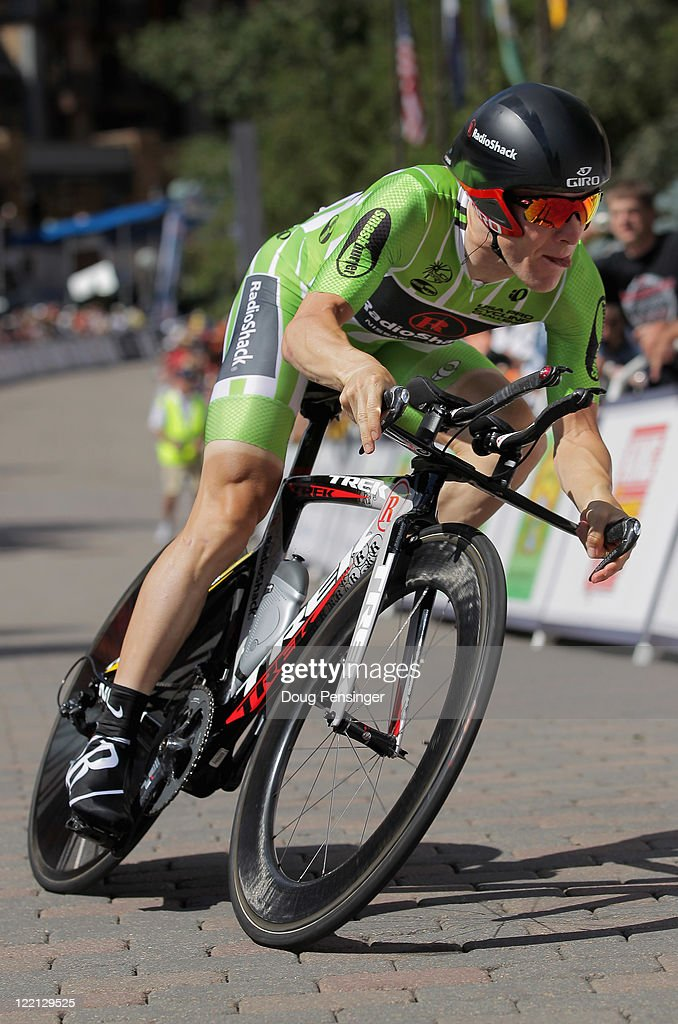 <a gi-track='captionPersonalityLinkClicked' href=/galleries/search?phrase=Levi+Leipheimer&family=editorial&specificpeople=236122 ng-click='$event.stopPropagation()'>Levi Leipheimer</a> of the USA riding for Team Radioshack races to first place in the individual time trial during stage three of the 2011 USA Pro Cycling Challenge on August 25, 2011 in Vail, Colorado.