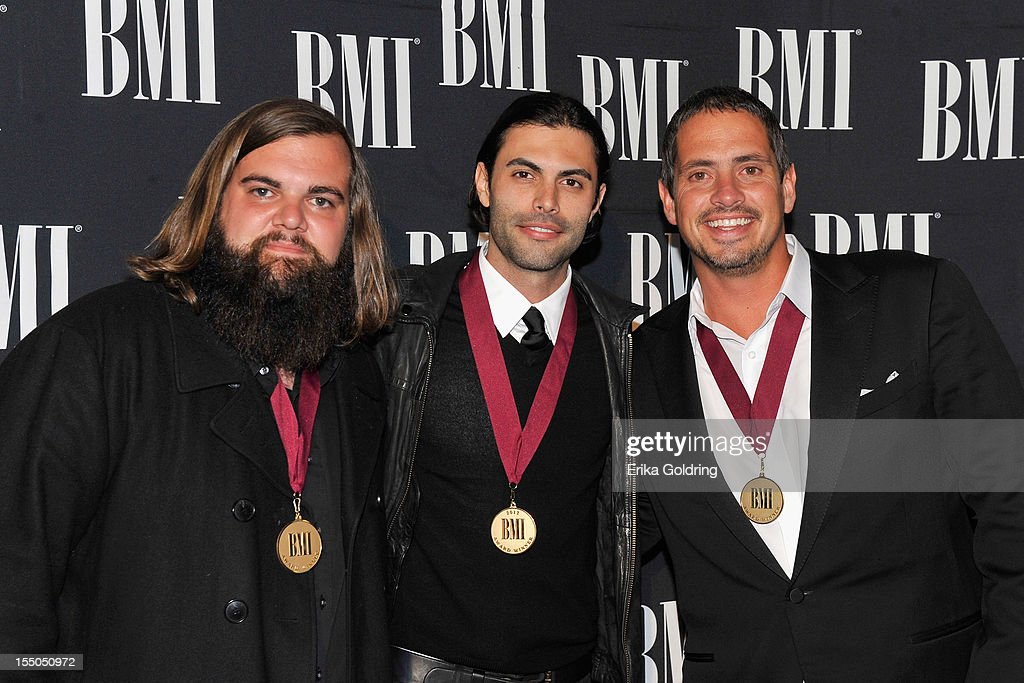 Levi Lowrey, Nic Cowan and Wyatt Durrette attend the 60th annual BMI Country awards at BMI on October 30, 2012 in Nashville, Tennessee.