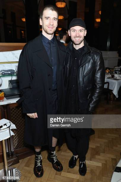 Levi Palmer and Matthew Harding attend Roland Mouret's The Dinner of Love at Cecconi's a preopening dinner at The Ned on April 25 2017 in London...