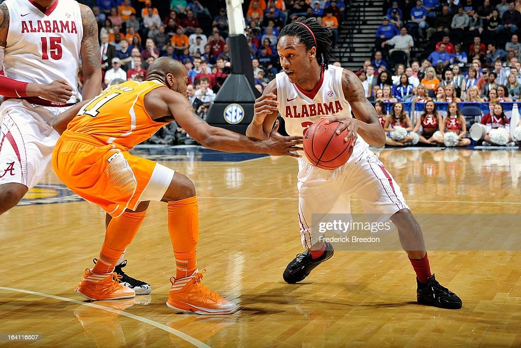 Levi Randolph #20 of the Alabama Crimson Tide plays against the University of Tennessee Volunteers during the Quarterfinals of the SEC Tournament at the Bridgestone Arena on March 15, 2013 in Nashville, Tennessee.