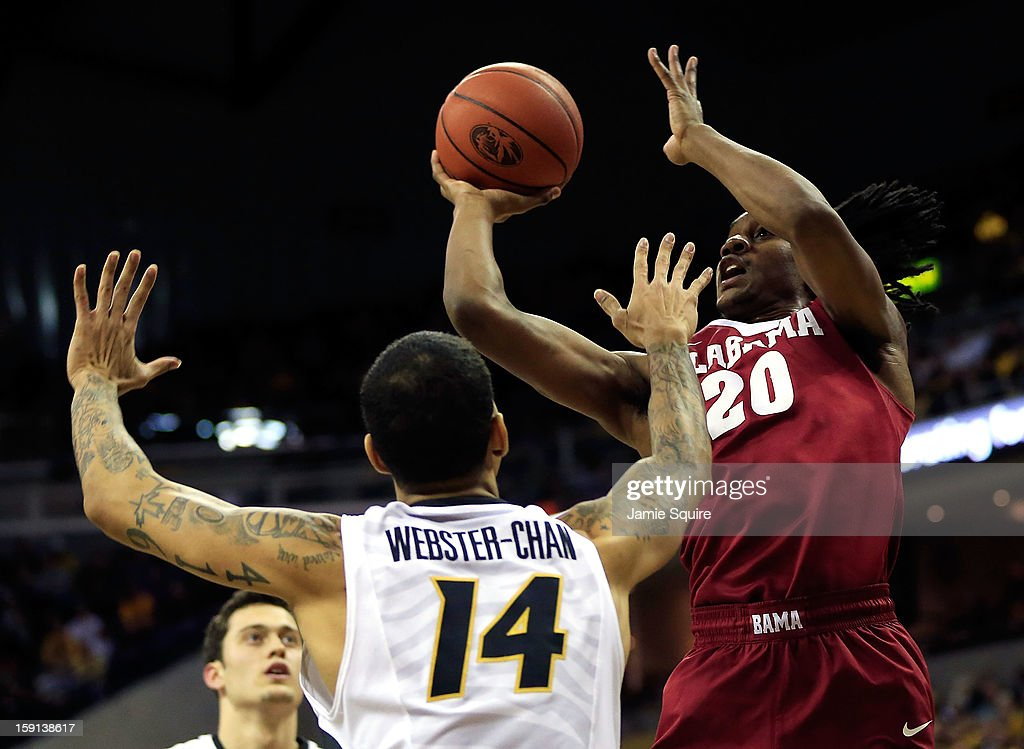 Levi Randolph #20 of the Alabama Crimson Tide shoots as Negus Webster-Chan #14 of the Missouri Tigers defends during the game at Mizzou Arena on January 8, 2013 in Columbia, Missouri.