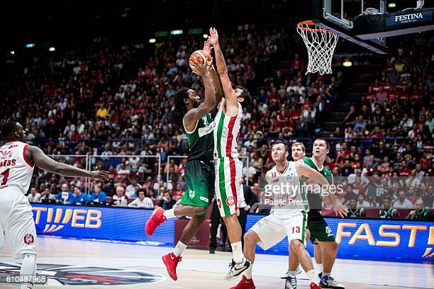 Levi Randolph shoots a layup during the final of Macron Supercoppa 2016 basketball match between Sidigas Avellino vs EA7 Emporio Armani Milano at...