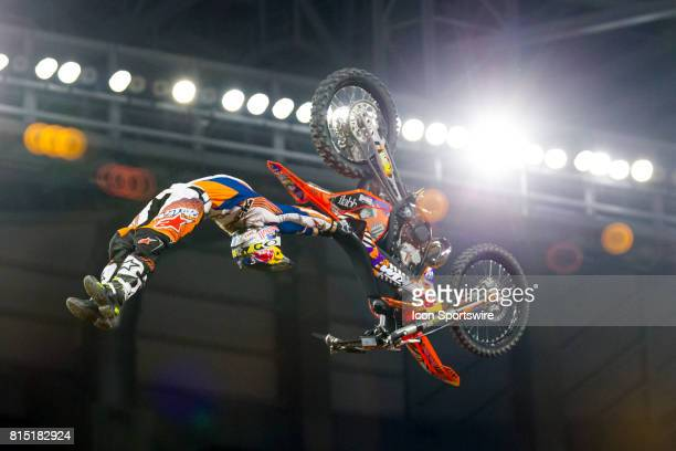 Levi Sherwood extends himself from his dirtbike during Moto X Freestyle at X Games Minneapolis on July 14 2017 at US Bank Stadium in Minneapolis...