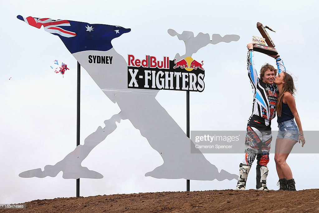 Levi Sherwood of New Zealand celebrates winning the Sydney Red Bull X-Fighters Moto Cross and becoming 2012 X-Fighters Tour Champion at Cockatoo Island on October 6, 2012 in Sydney, Australia.