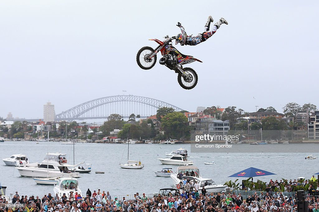 Levi Sherwood of New Zealand competes in the Red Bull X-Fighters Moto Cross at Cockatoo Island on October 6, 2012 in Sydney, Australia.