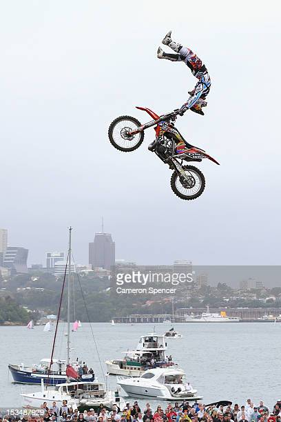Levi Sherwood of New Zealand competes in the Red Bull XFighters Moto Cross at Cockatoo Island on October 6 2012 in Sydney Australia