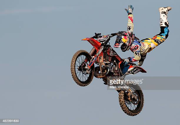 Levi Sherwood of New Zealand in action during the Red Bull XFighters World Tour at the Munich Olympic Park on July 19 2014 in Munich Germany