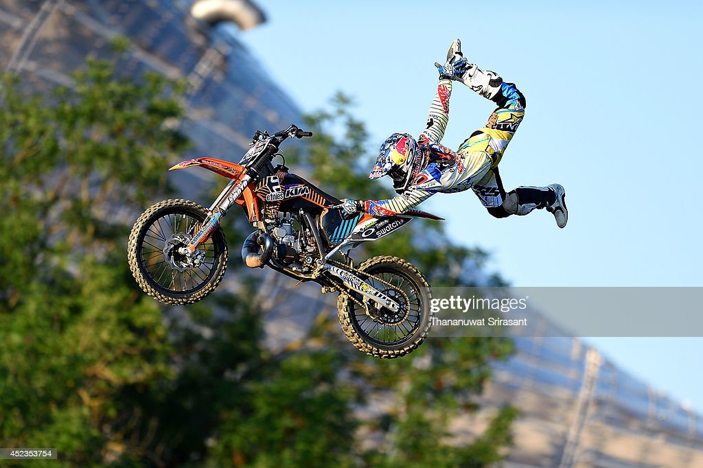 Levi Sherwood of New Zealand with KTM SX250 competes during qualifying for the Red Bull XFighters World Tour on July 18 2014 in Munich Germany