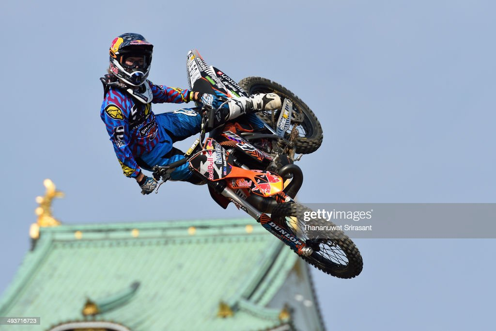 Levi Sherwood of New Zealand with KTM SX250 competes during the Red Bull XFighters World Tour on May 25 2014 in Osaka Japan