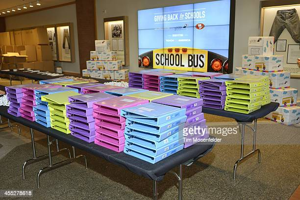 Levi Strauss Co and 49er employees stuffed 1500 backpacks for schools in the Bay Area with Yoobi school supplies on September 11 2014 in San...