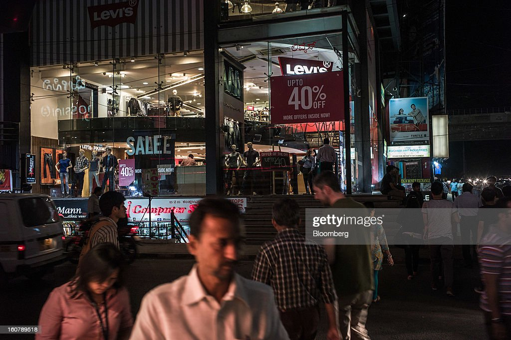 A Levi Strauss & Co. store stands on Brigade road in Bangalore, India, on Monday, Feb. 4, 2013. India's monetary authority predicted that the economy will expand 5.5 percent in the year ending March 31, which would be the smallest gain since 2003. Photographer: Sanjit Das/Bloomberg via Getty Images