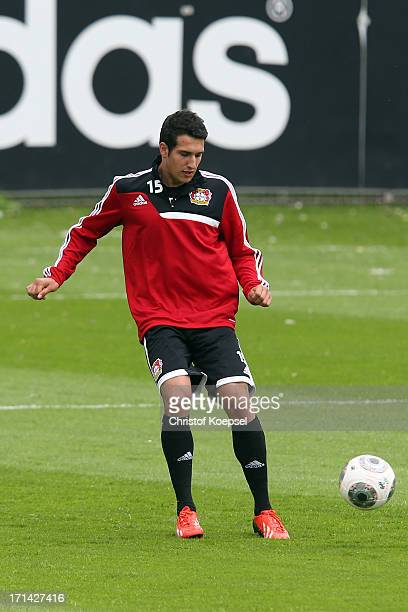 Levin Oeztunali grandchild of Uwe Seeler takes part in training start of Bayer Leverkusen at training ground on June 24 2013 in Leverkusen Germany