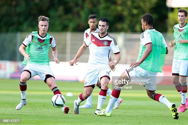 Levin Oeztunali in action on during the Germany U21 training session of Germany U21 on August 31 2015 in Norderstedt Germany
