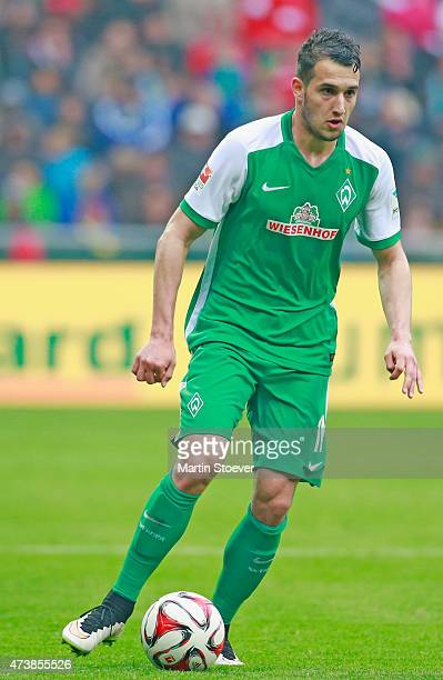Levin Oeztunali of Bremen plays the ball during the Bundesliga match between SV Werder Bremen and Borussia Moenchengladbach at Weserstadion on May 16...