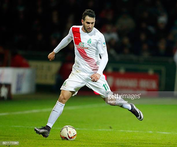 Levin Oeztunali of Bremen plays the ball during the Bundesliga match between Werder Bremen and 1 FC Koeln at Weserstadion on December 12 2015 in...