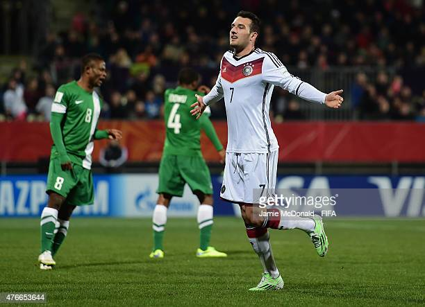 Levin Oeztunali of Germany celebrates his goal during the FIFA U20 World Cup New Zealand 2015 Round of 16 match between Germany and Nigeria at...