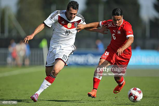 Levin Oeztunali of Germany challenges Hany Mukthar of Switzerland during the international friendly match between U20 Germany and U20 Switzerland on...