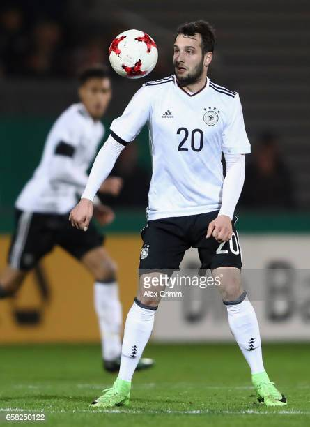 Levin Oeztunali of Germany controles the ball during the international friendly match between U21 Germany and U21 England at BRITAArena on March 24...