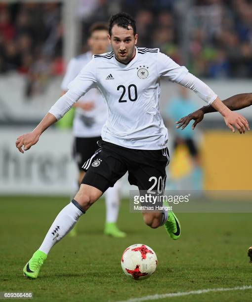 Levin Oeztunali of Germany controls the ball during the U21 International Friendly match between Germany U21 and Portugal U21 at GaziStadion auf der...