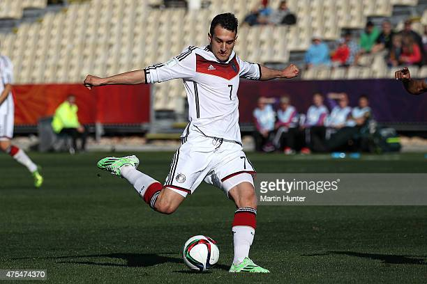 Levin Oeztunali of Germany in action during the Group E Group E FIFA U20 World Cup New Zealand 2015 match between Germany and Fiji at AMI Stadium on...