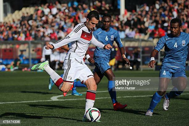 Levin Oeztunali of Germany looks to pass the ball during the Group E Group E FIFA U20 World Cup New Zealand 2015 match between Germany and Fiji at...
