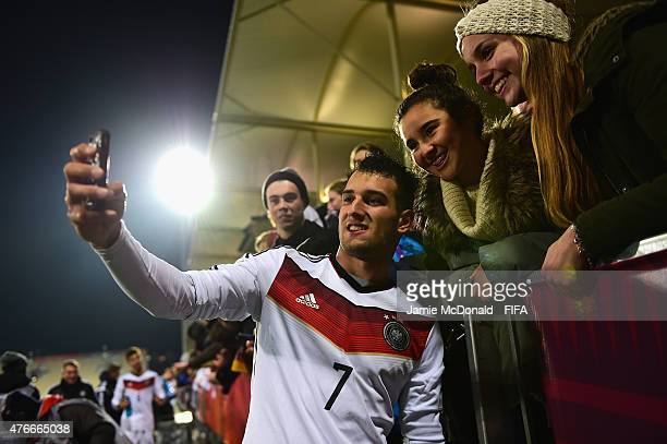 Levin Oeztunali of Germany meets the fans during the FIFA U20 World Cup New Zealand 2015 Round of 16 match between Germany and Nigeria at...