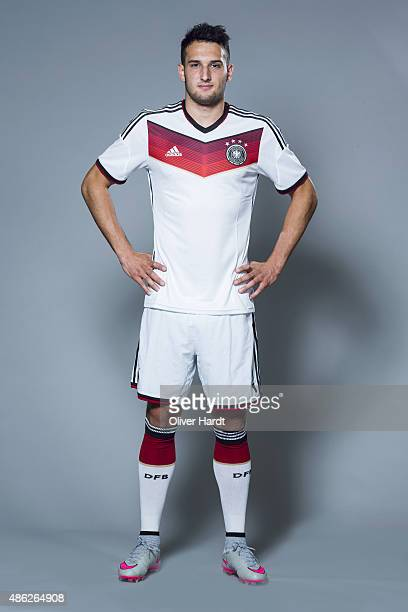 Levin Oeztunali of Germany poses during the team presentation of Germany U21on August 31 2015 in Hamburg Germany